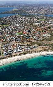 Aerial view of the coastline off Perth, Western Australia