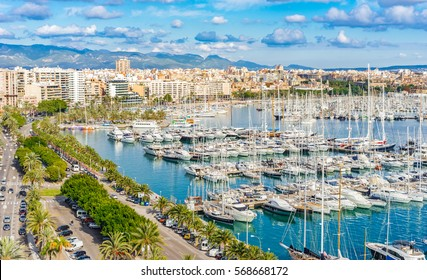 Aerial view of the coastline of Palma Majorca and Marina Port, Mediterranean Sea, Spain Balearic Islands.