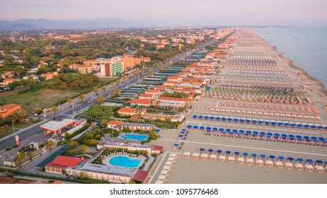 Aerial view  of the Coastline of Versilia, 20 km of coastline in Tuscany
