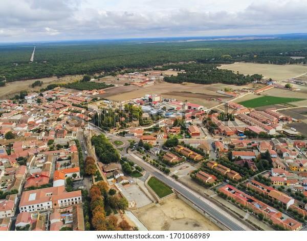 Aerial view in Coca, historical village of Segovia,Spain. Drone Photo