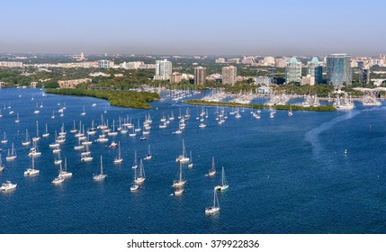 aerial view of coconut grove marina in south miami florida on clear blue sky morning