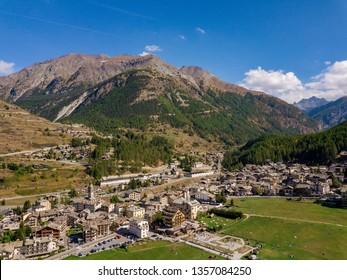 Aerial View of Cogne, Aosta, Valle d'Aosta, Italy