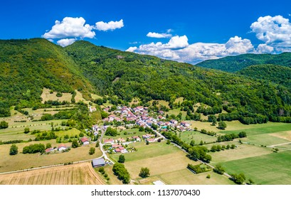 Aerial view of Coisia, a village in the Jura department of Bourgogne-Franche-Comte, France