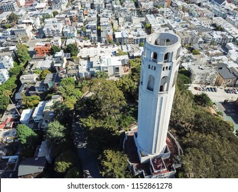 Aerial view Coit Tower and Telegraph Hill neighborhood residential area in San Francisco, California, USA