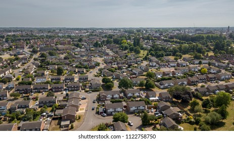 Aerial view of Colchester Riverside suburban residential area, Colchester, Essex, England, UK