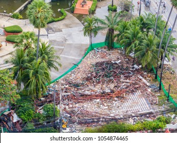 Aerial view of collapsed building in Pattaya, Thailand