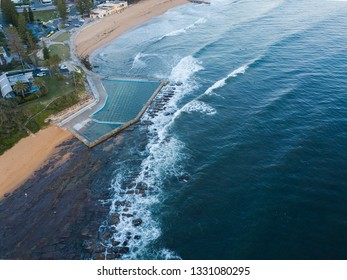 Aerial view of Collaroy Beach, Sydney with rock pool.
