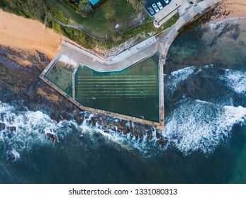 Aerial view of Collaroy rock pool, Sydney, Australia.
