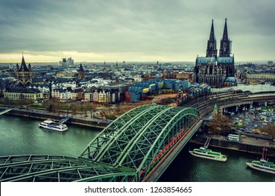 Aerial view from Cologne city cathedral