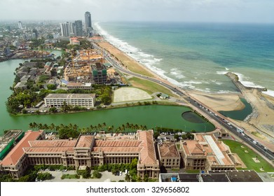 Aerial view of Colombo and Galle Face Green