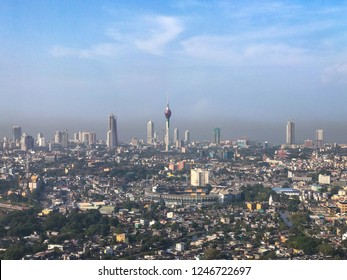 Aerial view of Colombo, Sri Lanka. Air pollution is clearly visible..