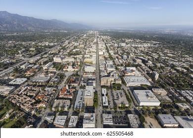 Aerial view of Colorado Bl in Pasadena, California.