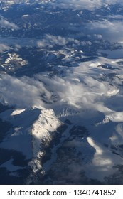 Aerial view of the Colorado Rocky Mountains coverd in snow