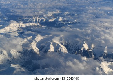 Aerial view of the Colorado Rocky Mountains after heavy snow storm