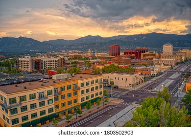Aerial View of Colorado Springs at Dusk