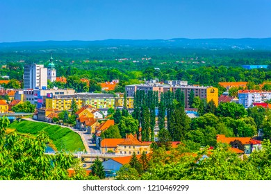 Aerial view at colorful cityscape on Karlovac (Banija) town in Central Croatia, Europe. / Selective focus.