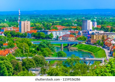 Aerial view at colorful cityscape of town Karlovac in springtime, Croatia Europe travel destinations. / Selective focus.