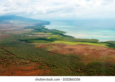Aerial view of the colorful coastline and Pacific waters of the island of Molokai in Hawaii