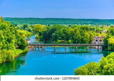 Aerial view at colorful landscape near Karlovac town, croatian travel destinations. / Selective focus.