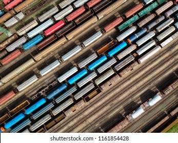Aerial view of colorful trains