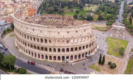 Aerial view of the Colosseum, known as Amphitheatrum Flavium, symbol of the city of Rome, of Italy and one of the seven wonders of the world. In ancient times it was used for gladiatorial shows.