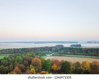 Aerial view of colourful autumn forest with misty fields in the background