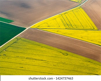 aerial view of colza fields in the Val d'Oise in France