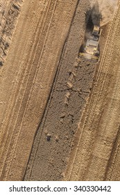 aerial view of combine on the harvest field in Poland