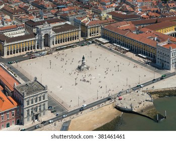 Aerial view of Commerce Square of Lisbon, Portugal