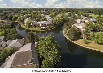 Aerial view of a community with lake in Northbrook, Illinois