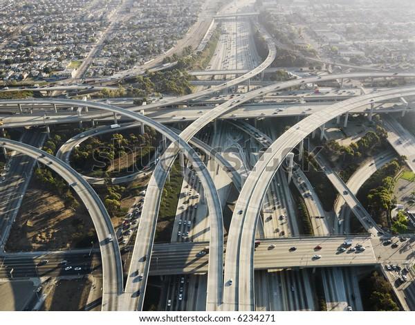 Aerial view of complex highway interchange in Los Angeles California.