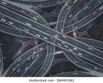 Aerial view of the complicated overpass bridges in Shanghai, China.