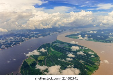 Aerial view of confluence of waters, forming Amazon river