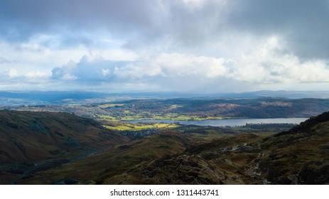 Aerial view of Coniston Water in the Lake District, UK
