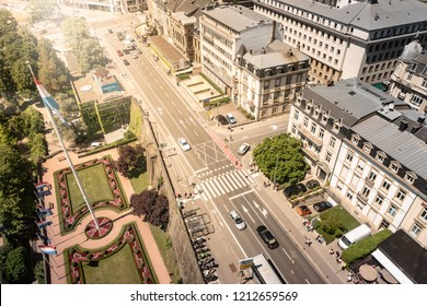 Aerial view of Constitution Square and Boulevard Franklin Delano Roosevelt in Luxembourg in a beautiful summer day, Luxembourg