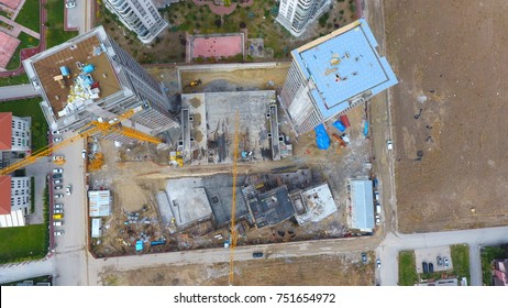 Aerial view of construction area