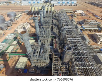 Aerial view of the construction of a large combined cycle power plant