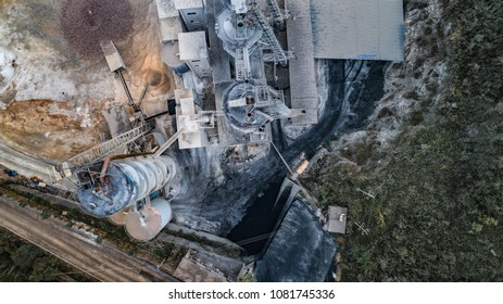 aerial view of construction material factory