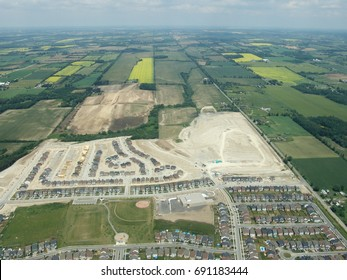 Aerial view of construction residential area. Summer time, Ontario, Canada