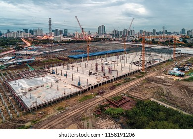 Aerial view of a construction site in Bangkok, Thailand.