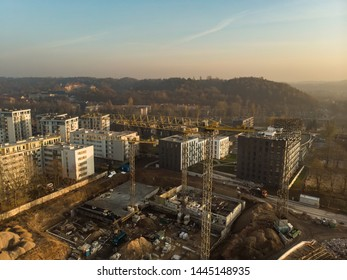 Aerial view of construction site in the city of Vilnius, Lithuania. Construction of new apartment building in progress.