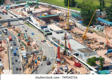 Aerial view of construction site in the city. Singapore