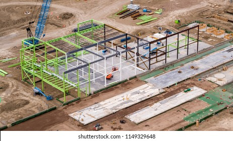 Aerial View of Construction Site, Steel Frame Building