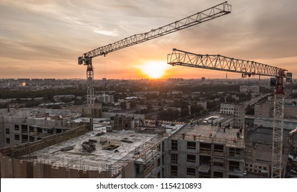Aerial view of construction site at sunset