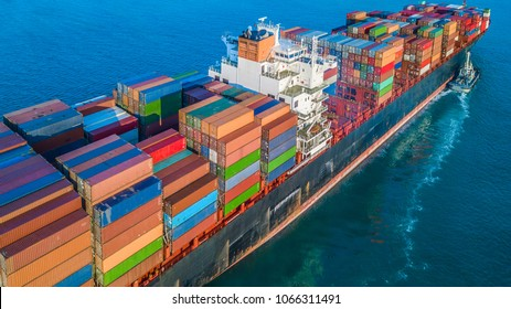 Aerial view container cargo ship in import export and business logistic, Transportation and logistic of international container cargo ship in the open sea.