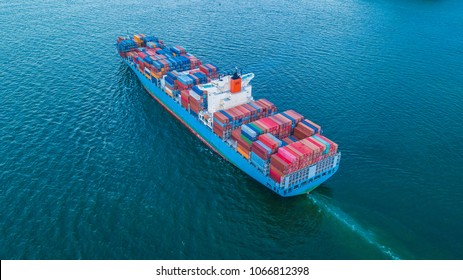 Aerial view container cargo ship import and export business logistic, Freight transportation import export logistic.