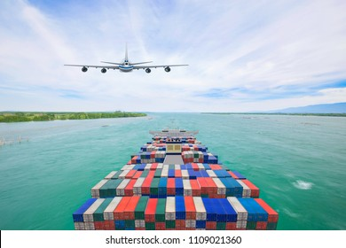 Aerial view container cargo ship and commercial plane for transport and logistic import export concept