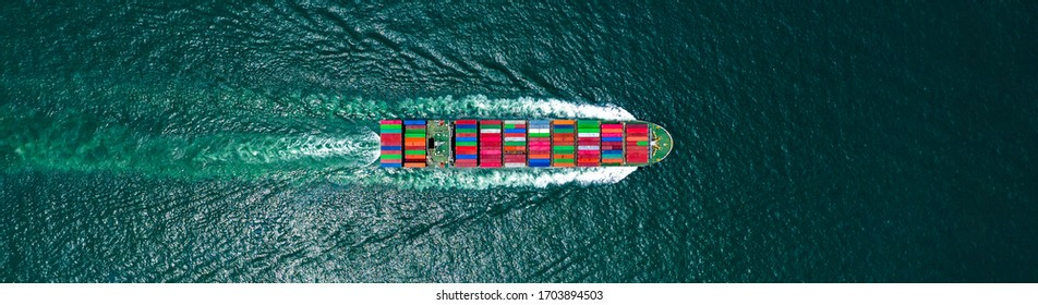 Aerial view container cargo ship in ocean, Business industry commerce global import export logistic transportation oversea worldwide, Sea shipping company vessel, copy space for web banner.
