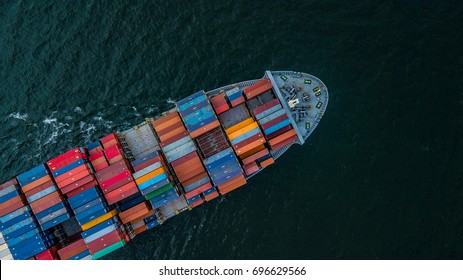 Aerial view container cargo ship in import export and business logistic and transportation. - Shutterstock ID 696629566