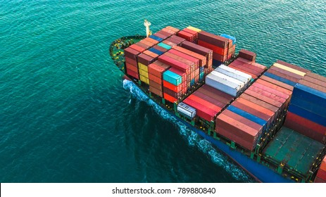Aerial view container cargo ship, Logistic and transportation of International in the open sea.